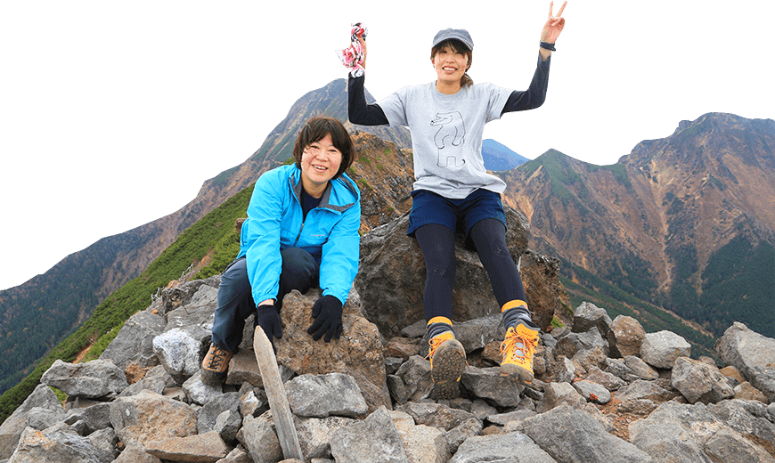 登山の女性たち